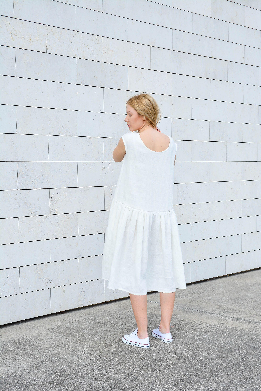 4659b082159 white linen dress- white summer dress- women sundress- long linen dress- cap