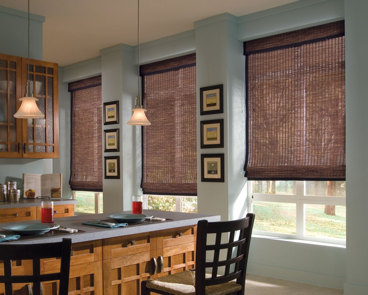 Woven wood shades are so beautiful and provide insulation and ...
