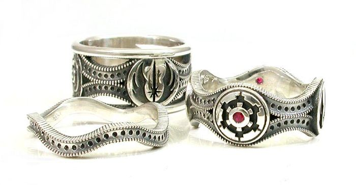 Star Wars Wedding Ring Set Sterling silver his and her matching