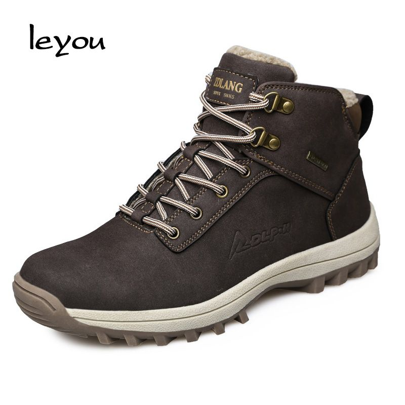 Mens Winter Warm Fur Lined High Top Snow Boots Lace Up Ankle Martin Boots Anti-Slip Sneaker Trekking Shoes