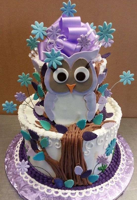 Owl cake So cute for a girl birthday party Nicely decorated
