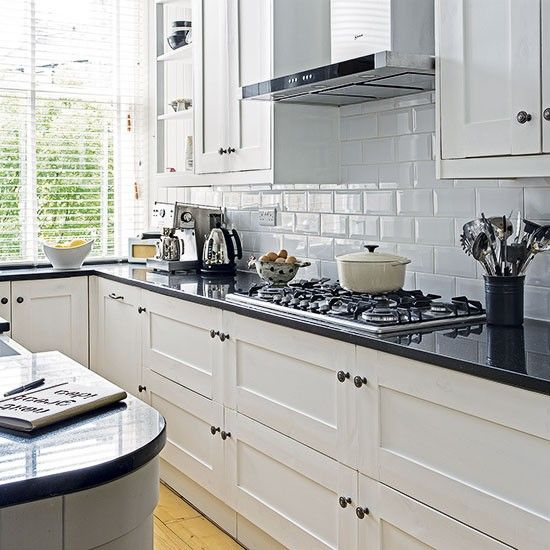 White Kitchen With Black Worktop Decorating Ideal Home Trendy Kitchen Tile Kitchen Black Counter White Kitchen Black Worktop