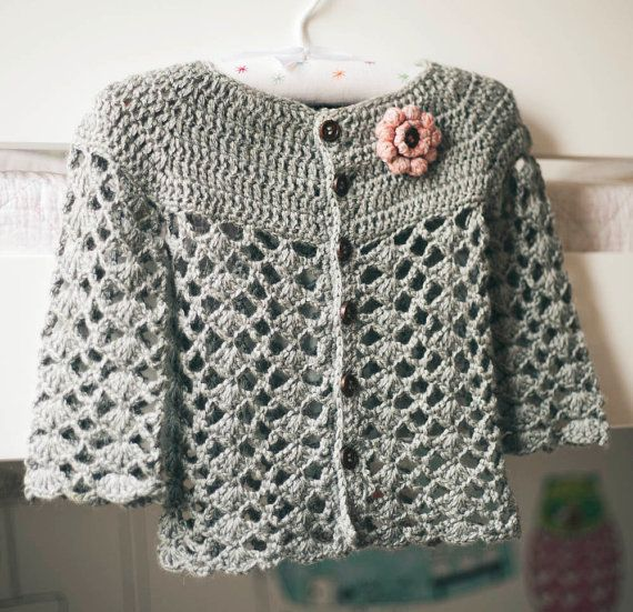 Crochet Cardigan PATTERN - Sweet Little Cardigan (sizes 0-6,6-12,1-2 ...