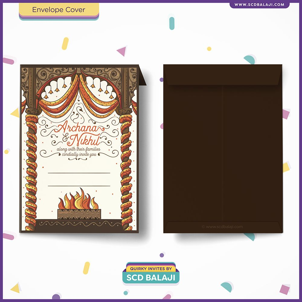 Tamil Brahmin Iyer Wedding Invitation Envelope Cover Designed And Ilrated By Scd Balaji Indian