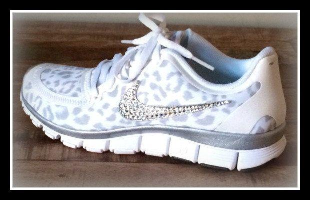 Items similar to Women's Nike Free White/Wolf Gray/Metallic Silver size 12  with Swarovski crystal details on Etsy