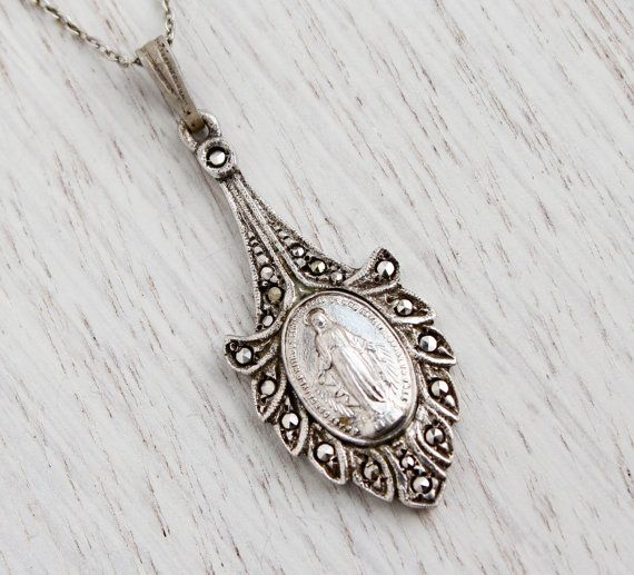 Antique Sterling Silver Virgin Mary Necklace Vintage