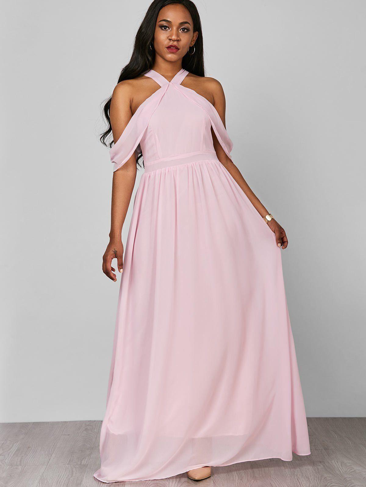 Cold Shoulder Flounce Chiffon Pastel Maxi Dress Ad ,