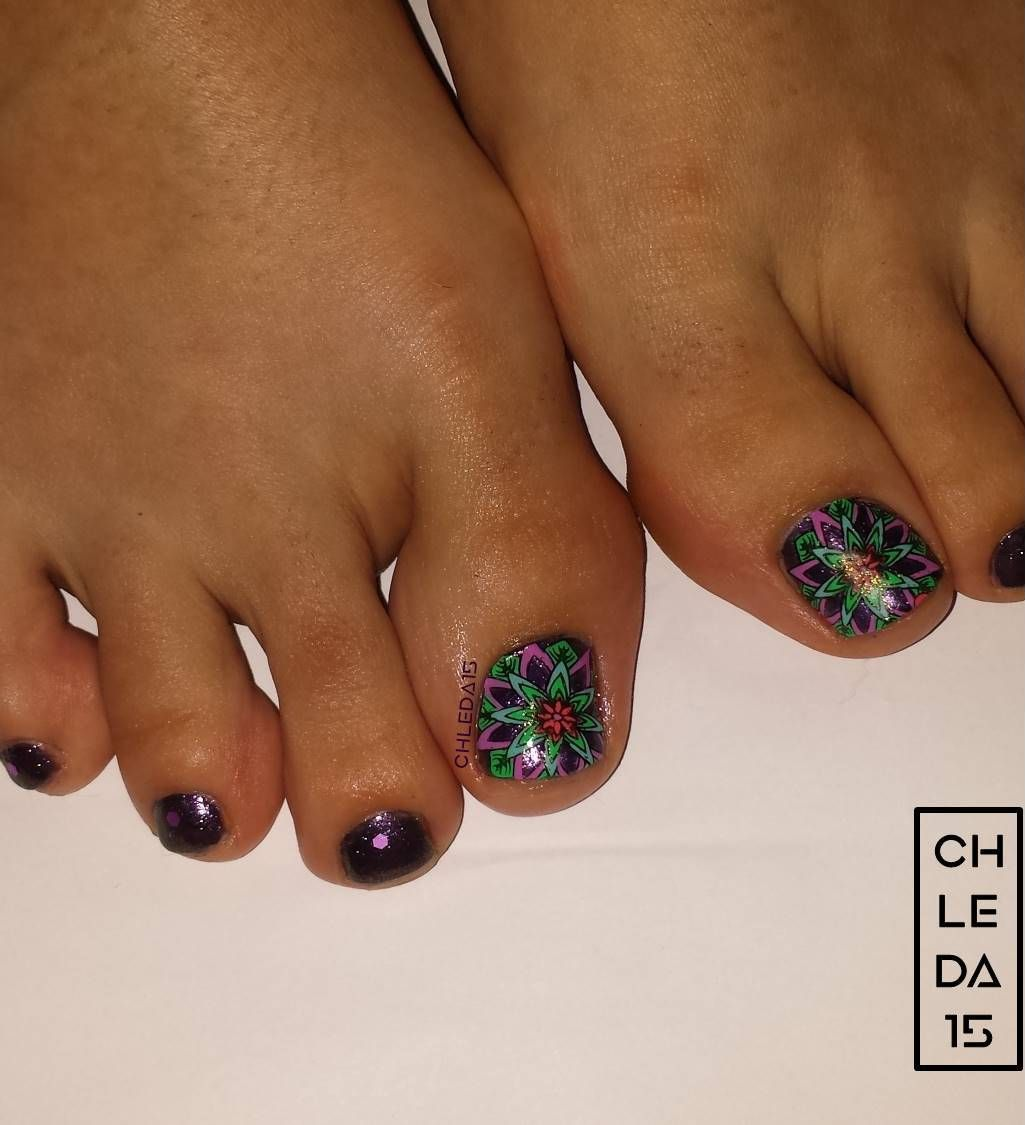 All nails painted dark purple as base. Small toenails with matte ...