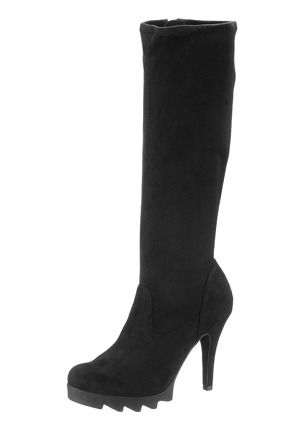 High Heel Stiefel, Tamaris, Textil in Velourslederoptik