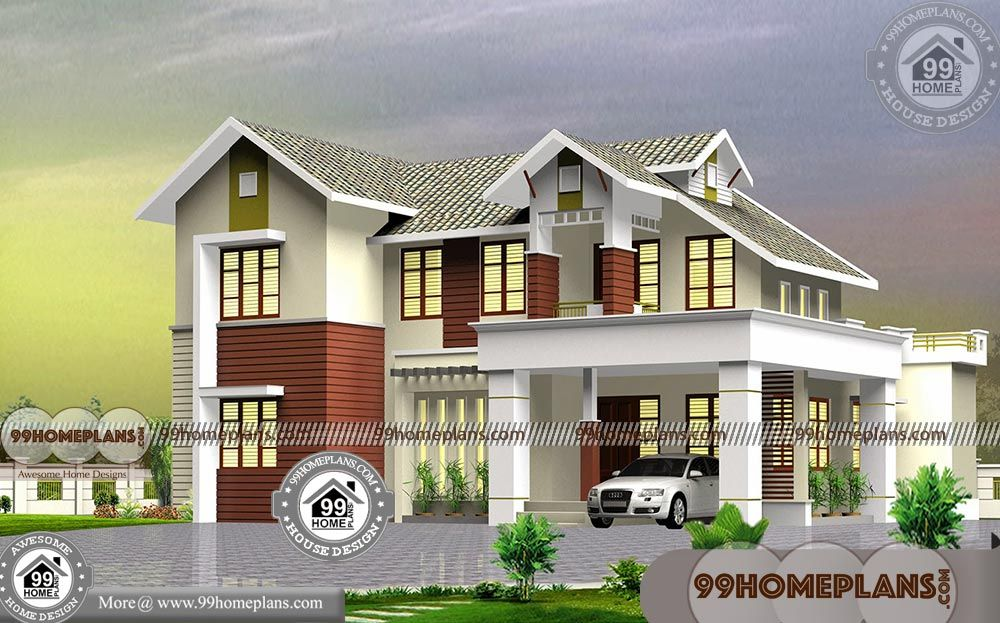Kerala Traditional Style 2 Storey 4 Bedroom House Plans Drawings Inexpensive Home Exterior Inte Kerala House Design House Plans House Plans With Pictures