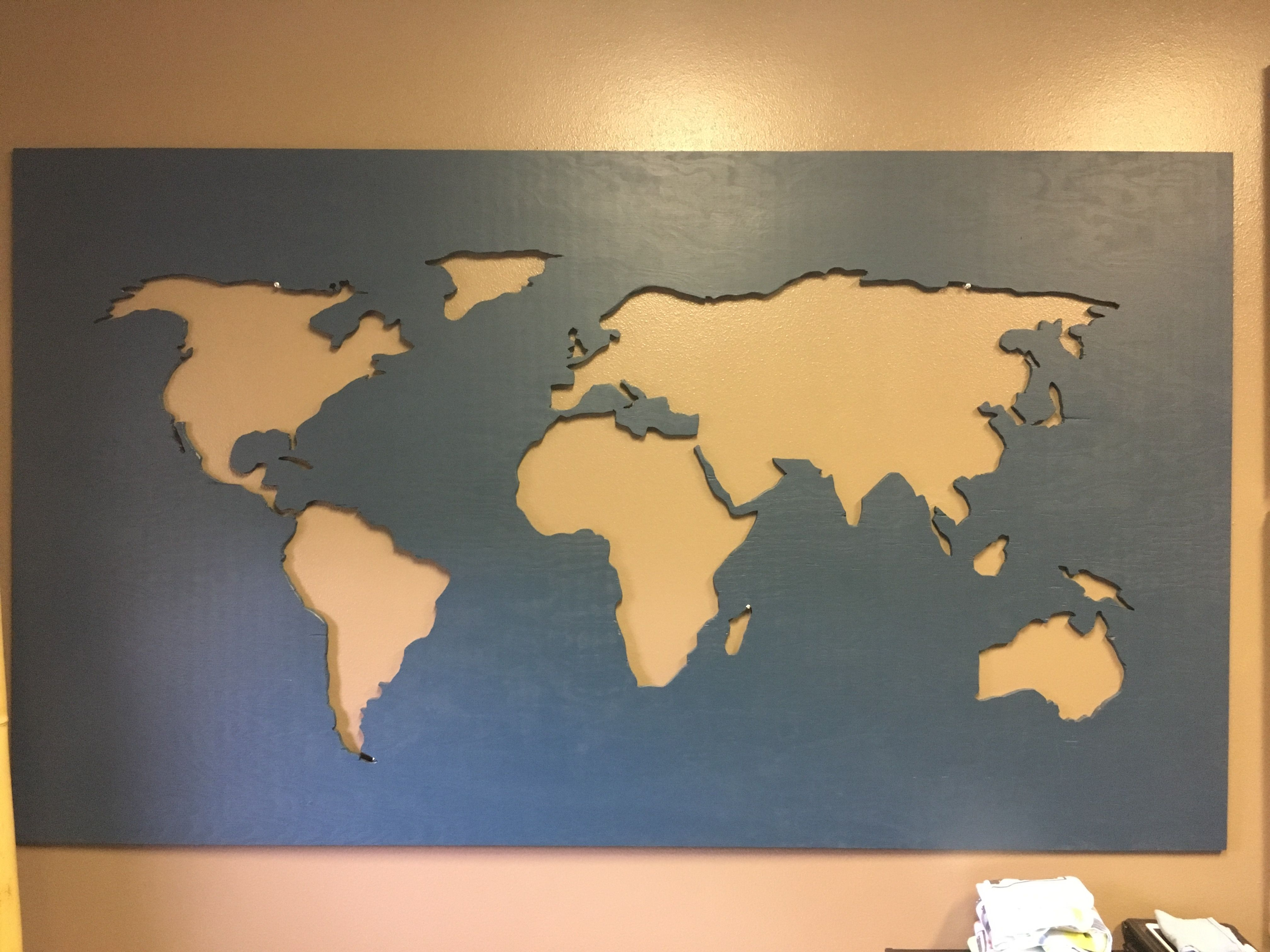 DIY World Map. Used an overhead projector to shoot a world map on 3 ...