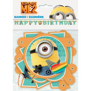 "DESPICABLE ME 2 Minion Jointed /""Happy Birthday/"" Banner Birthday Party Supply 1"