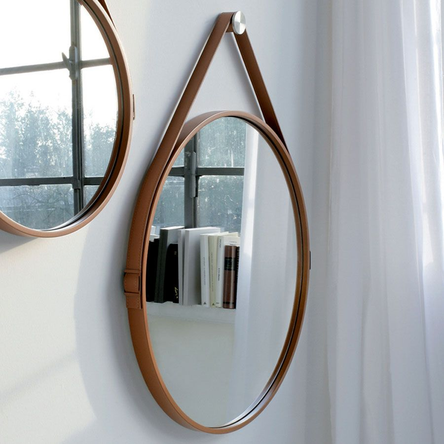 Found it at dcgstores george 36 manhattan george hanging round mirror features leather wrapped steel frame with buckle strap and stainless steel hanging hardware details available in multiple amipublicfo Gallery