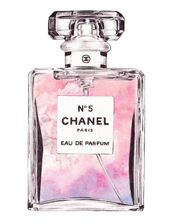 Chanel Art Pink Watercolor Ilration Prints