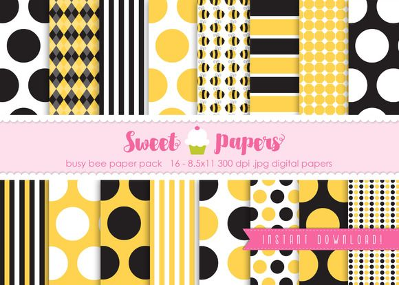 Bee Digital Paper Pack SPBEE01 by Sweet Papers on Creative Market