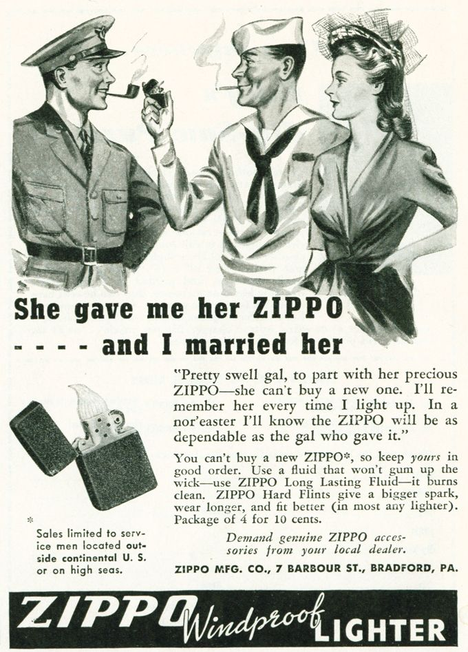 Vintage Zippo Advertisement From 1943 Wow If I D Known It Was This Simple I D Have Been Married Vintage Ads Vintage Advertising Art Vintage Advertisements