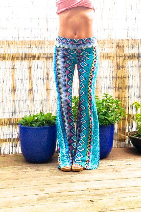 b4c79f096e77c AZTEC TRIBAL STRIPE turquoise blue flare leg by lizajanehandmade, $59.00