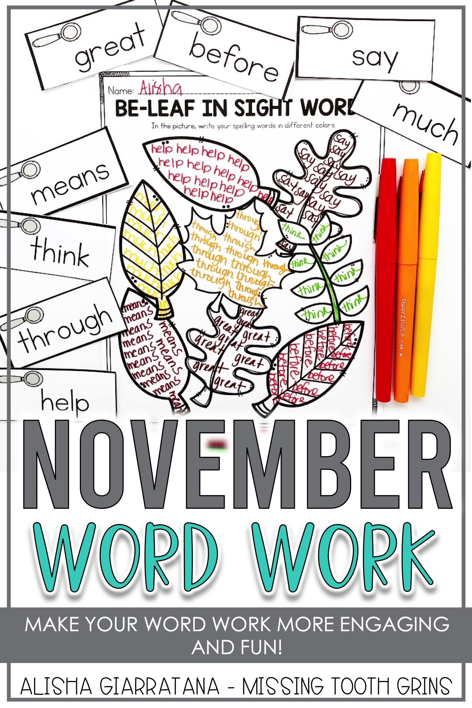 Word Work Center November With Images