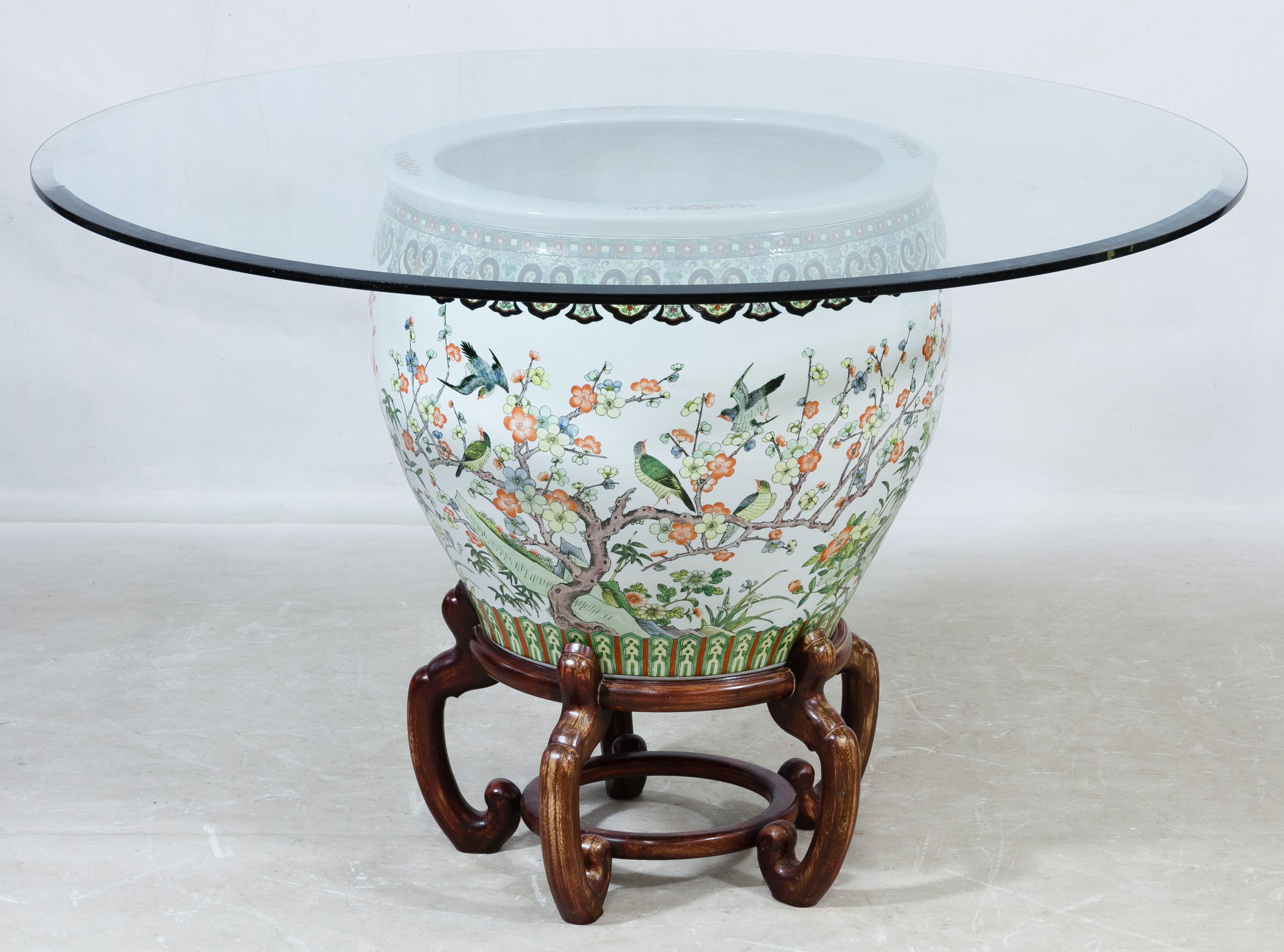 Lot 557 Asian Style Fish Bowl and Glass Top Coffee Table 20th