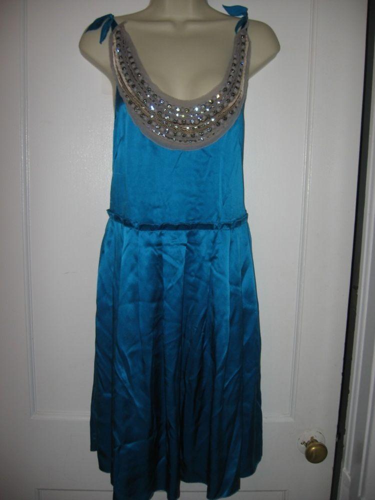 3.1 Phillip Lim Jewel Embellished Beaded Neckline Silk Ballerina Dress Blue $775 #31PhillipLim
