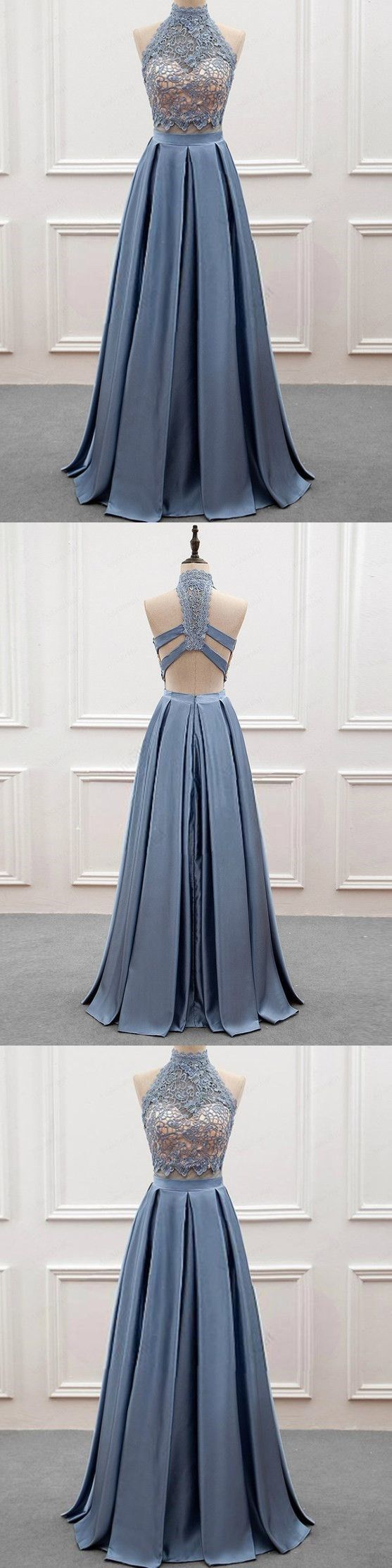 Two piece prom dress simple modest elegant cheap long prom dress
