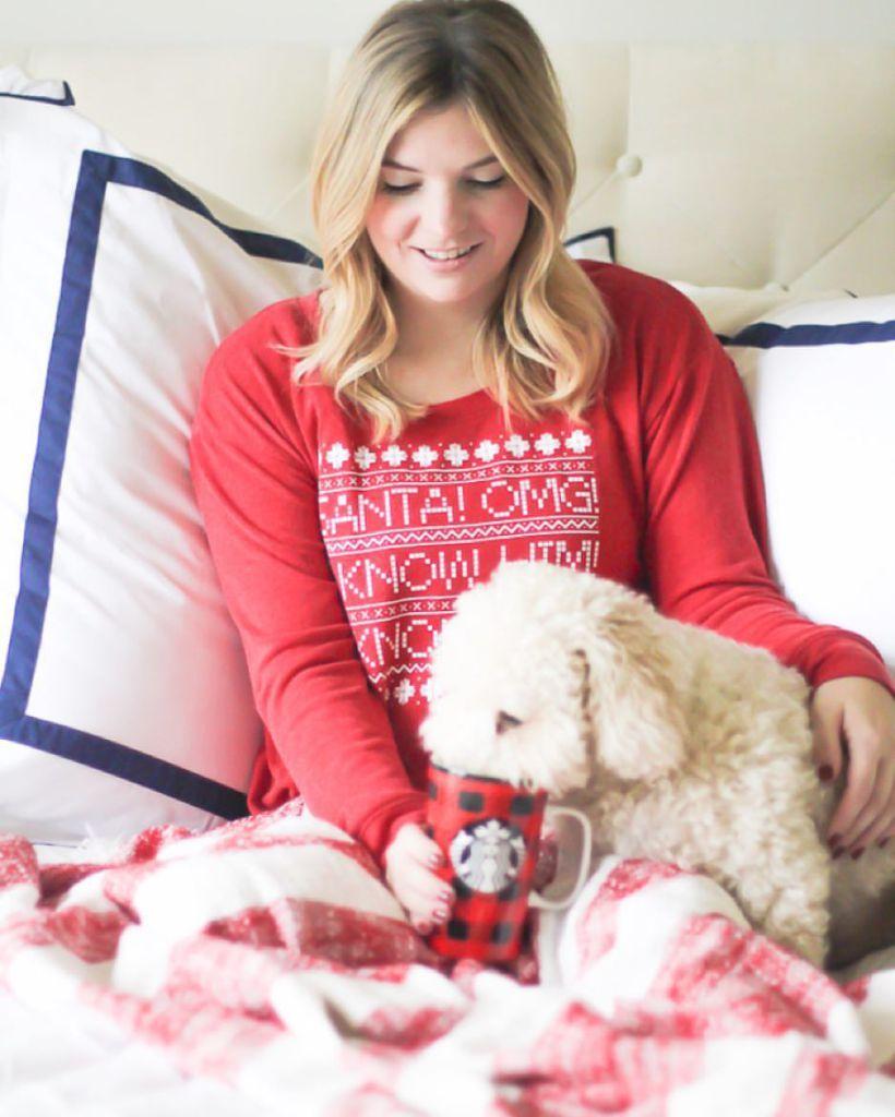Christmas pajamas, christmas photo ideas, toy poodle, dog photos, puppy inspiration, navy and white bedding, Christmas decor.