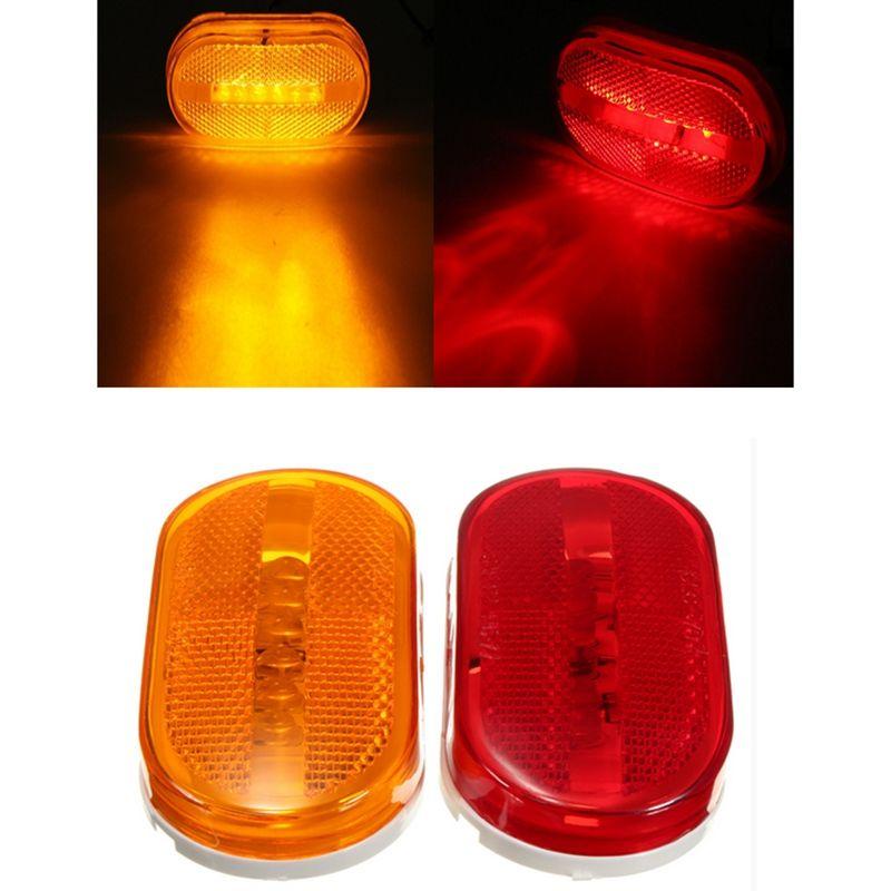 Hot Red Yellow 12v 6 Led Side Marker Blinker Trailer Side Lights Clearance Lamp Bulb For Car Truck Trailers Car Lights Yellow Gems Car Led Lights