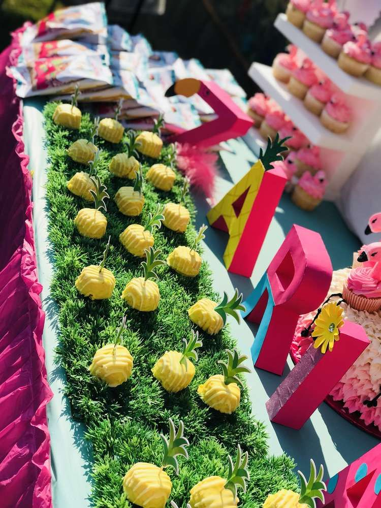 Pineapple & Flamingo Luau Birthday Party Ideas Photo 23