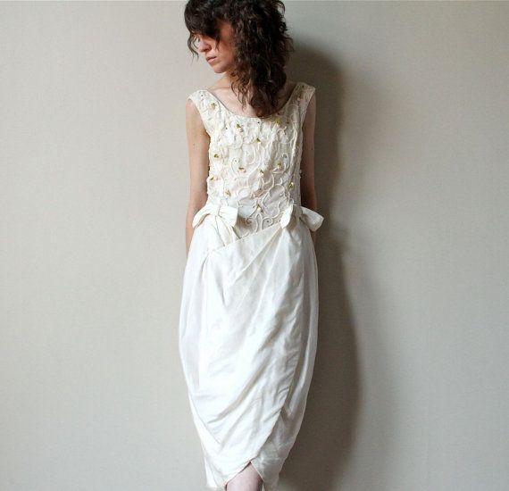 60s Mod Wedding Dress, vintage avant garde tulip wiggle fit midi ...
