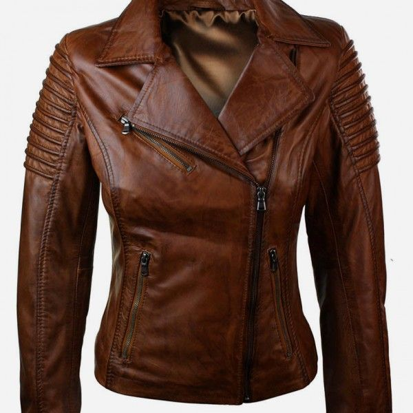 Get a blonde look wearing brown leather jacket for women ...