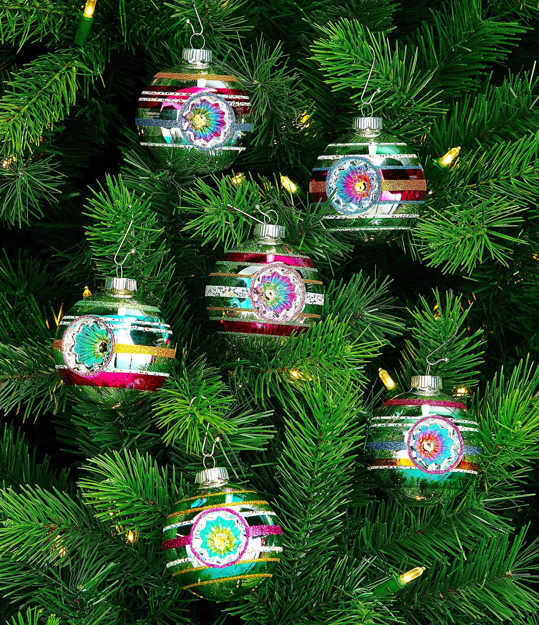 Christopher Radko Shiny Brite Vintage Celebration 6Piece Reflector Round Ornament