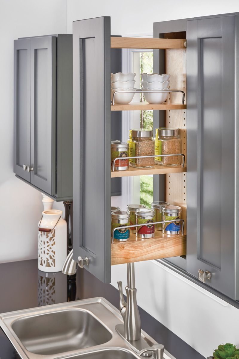 Organize Your Herbs Species Jars And Other Small Items With The Pull Out Spice Rack A Great Way To Use A Narrow S Pull Out Pantry Kitchen Pulls Rev A Shelf