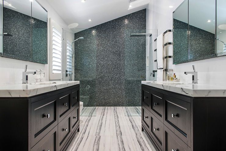 Stunning Bathroom With Black Face To Face Vanities Paired With