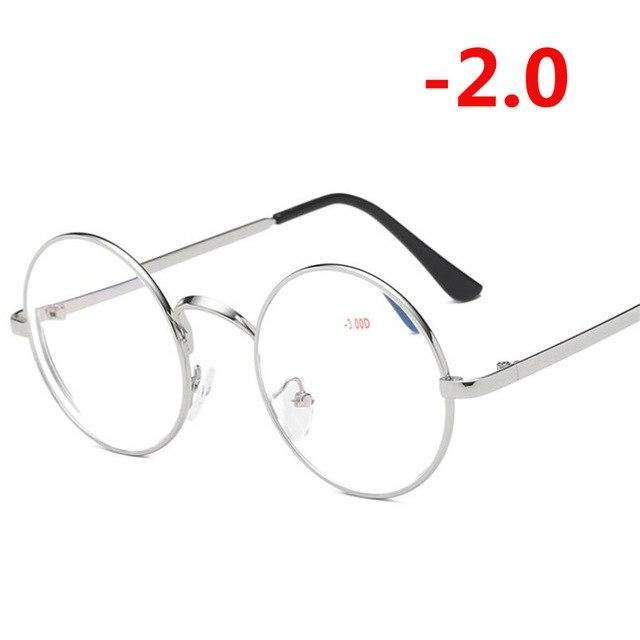 Retro Metal Round Finished Myopia Glasses For Women Men