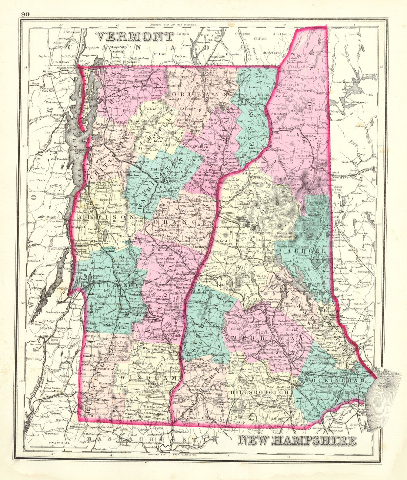 Map Antique Gray39s Atlas Map Of Maine Vermont New