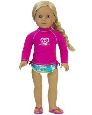 "Hot Pink Rash Guard and Bikini Bottoms that fits 18"" dolls like American Girl Dolls"