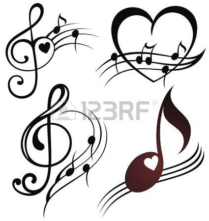 Stock Photo Tatuajes Notas Musicales Dibujos Arte
