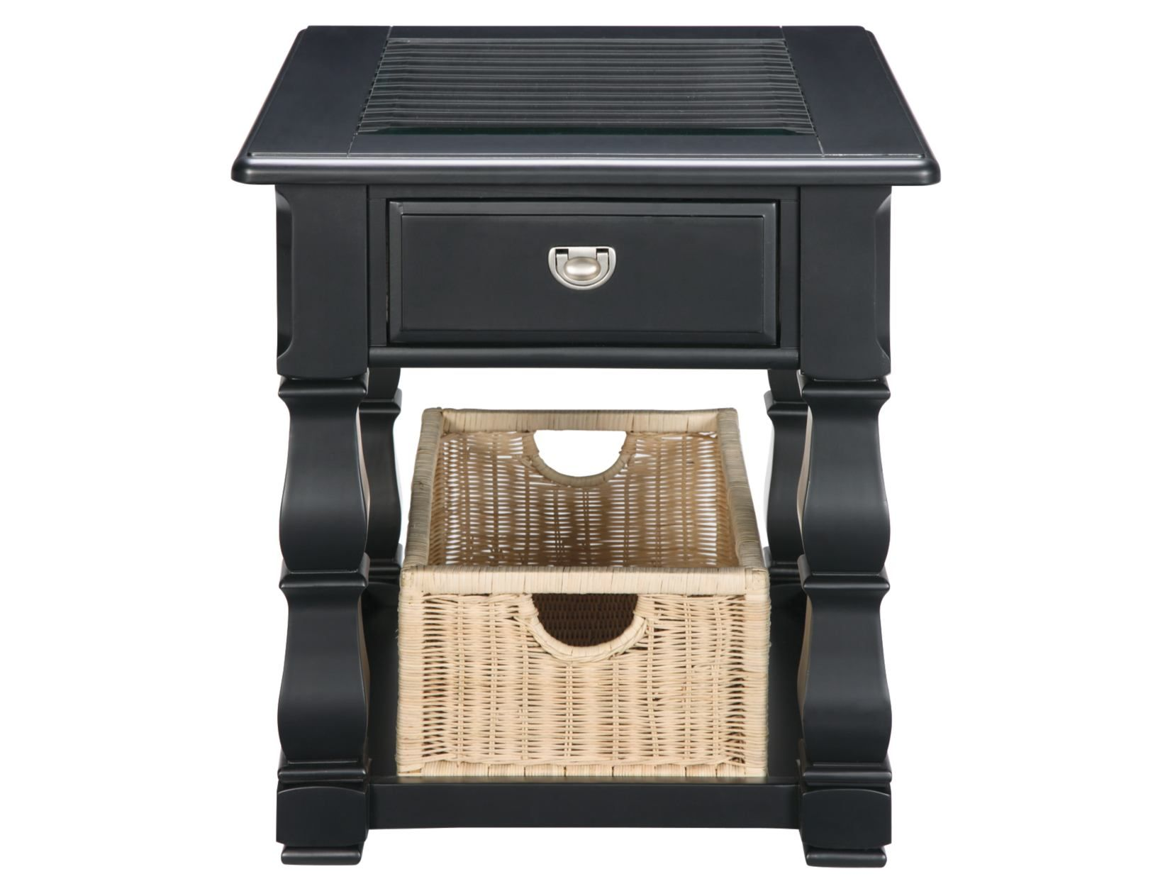 Plantation Cove Black End Table with Baskets American Signature