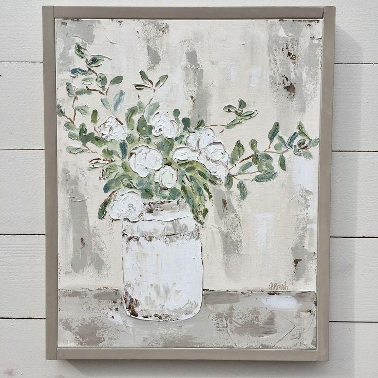 Farmhouse Floral Painting, White Floral Art, Floral