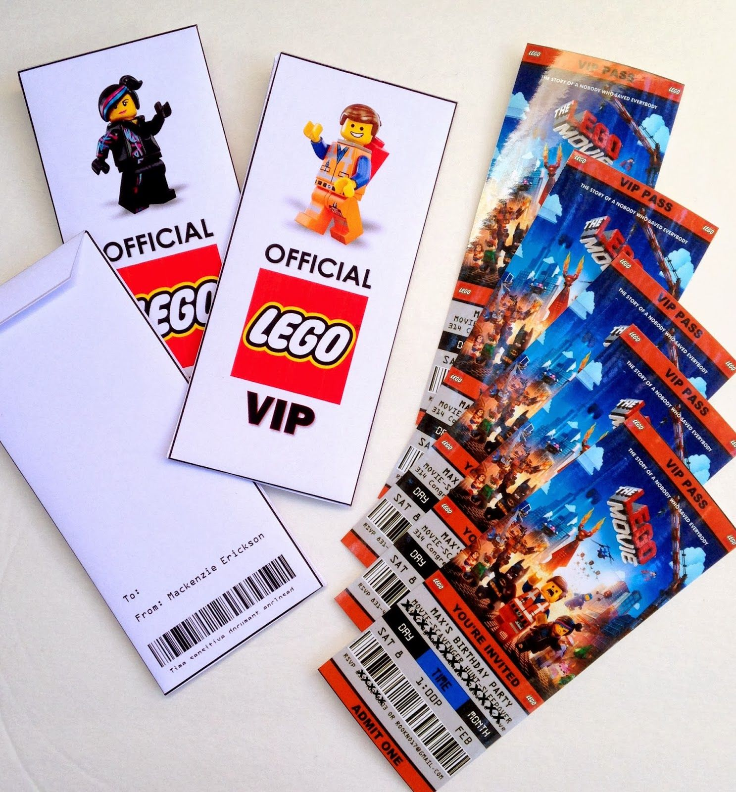 Free Printable (and Customizeable) Ticket Style Party Invitations    The  Lego Movie.  Free Printable Ticket Style Invitations