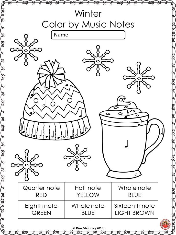 Music Coloring Pages: 26 Winter Color by Music Notes Sheets   Music ...