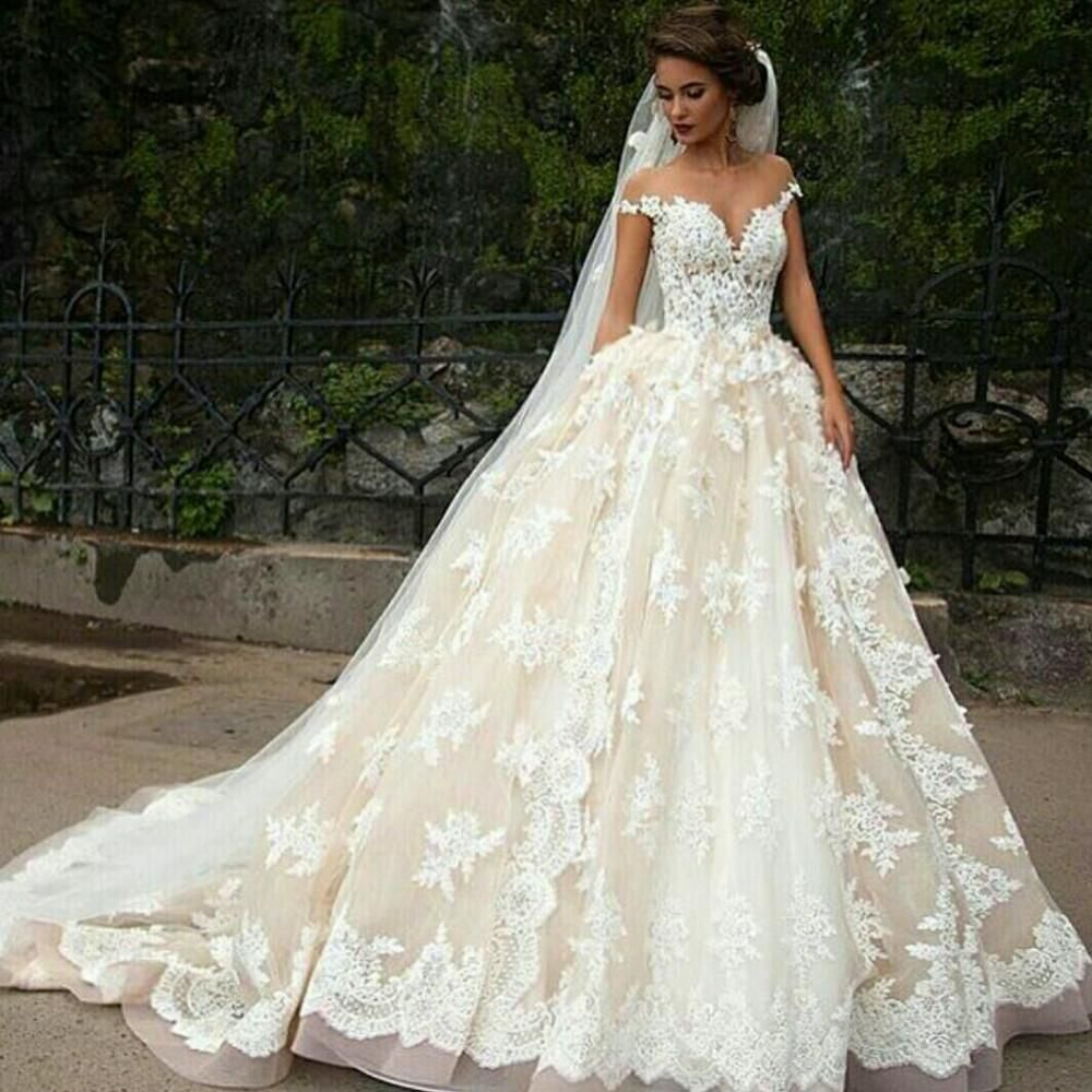 02e30c12d50 Vintage 2016 Cinderella Ball Gown Wedding Dresses Sheer Jewel Neck Capped  Sleeves Champagne Lace Appliques Cathedral Train Bridal Gowns Inexpensive  Wedding ...