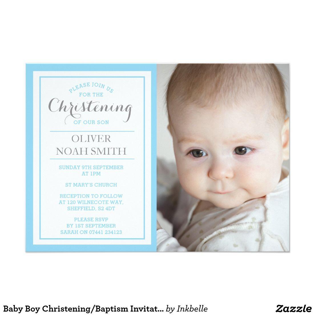 Baby Boy Christening/Baptism Invitation | Boy christening and ...