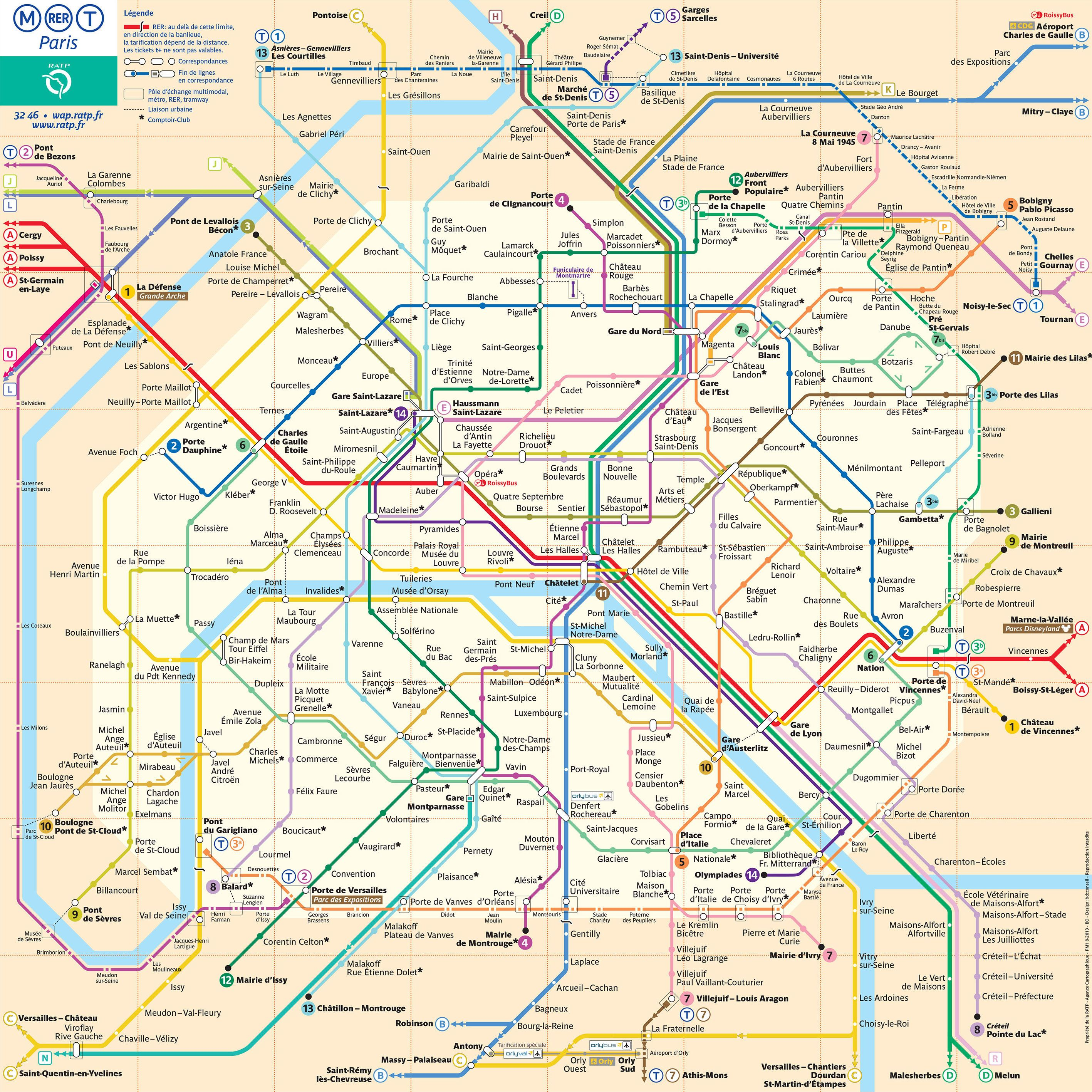 carte metro paris