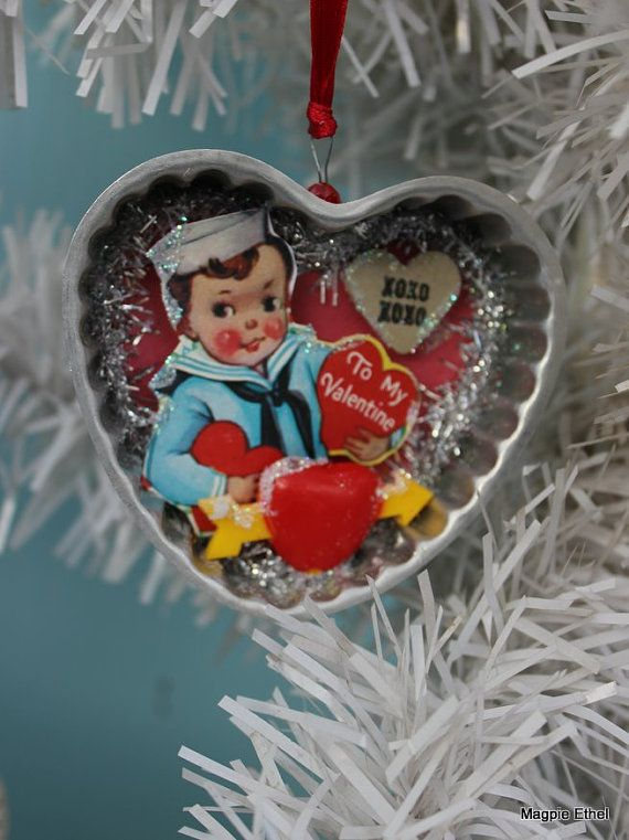 I had a stash of vintage tin molds that were used for baking and thought they would be perfect to gussy up for Valentines Day. Each ornament is