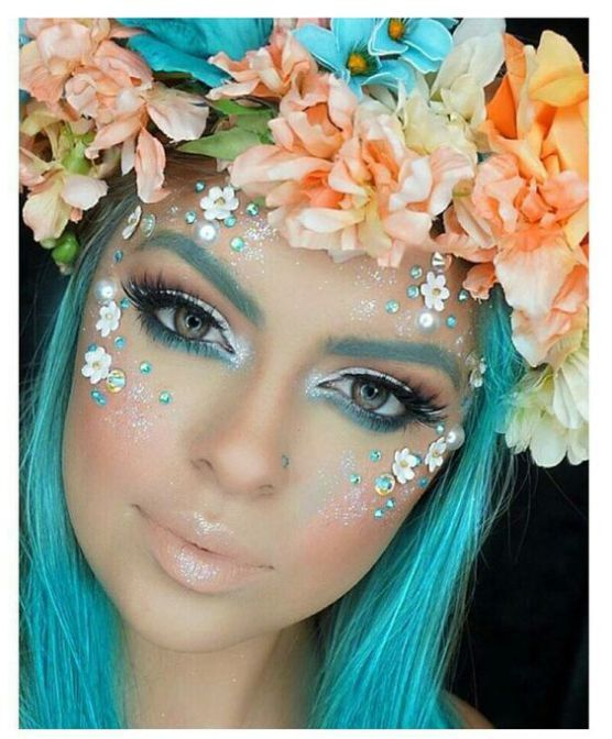 Mermaid, Fairy, Unicorn Makeup Look. 10 gorgeous halloween makeup looks! Cheetah makeup, spider girl makeup, deer makeup, doe makeup, fawn makeup, fairy makeup, pop art makeup, fairy makeup, unicorn makeup, mermaid makeup, sugar skull makeup. Love this site with all of the gorgeous inspiration.