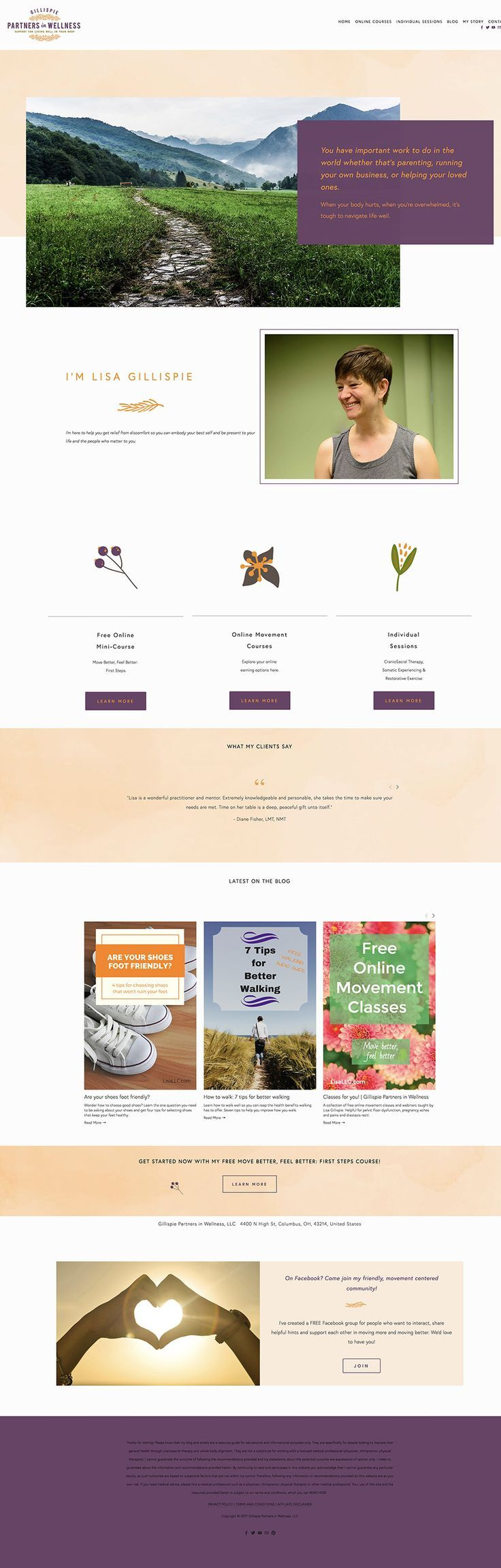 Gillispie Partners in Wellness website design —  Squarespace Web Design Services | Jodi Neufeld Design