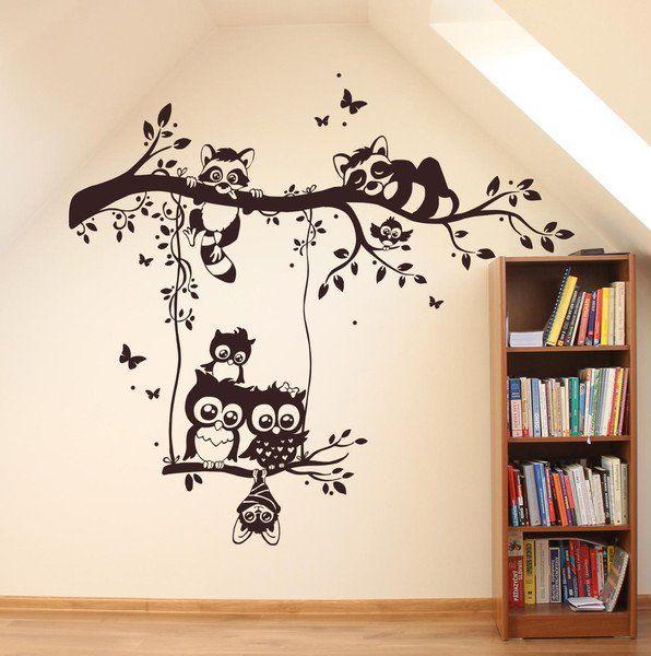 Babyzimmer gestalten wandgestaltung eule  Wandtattoos - Wandtattoo Eulen Waschbären Eulenwandtattoo M1545 ...