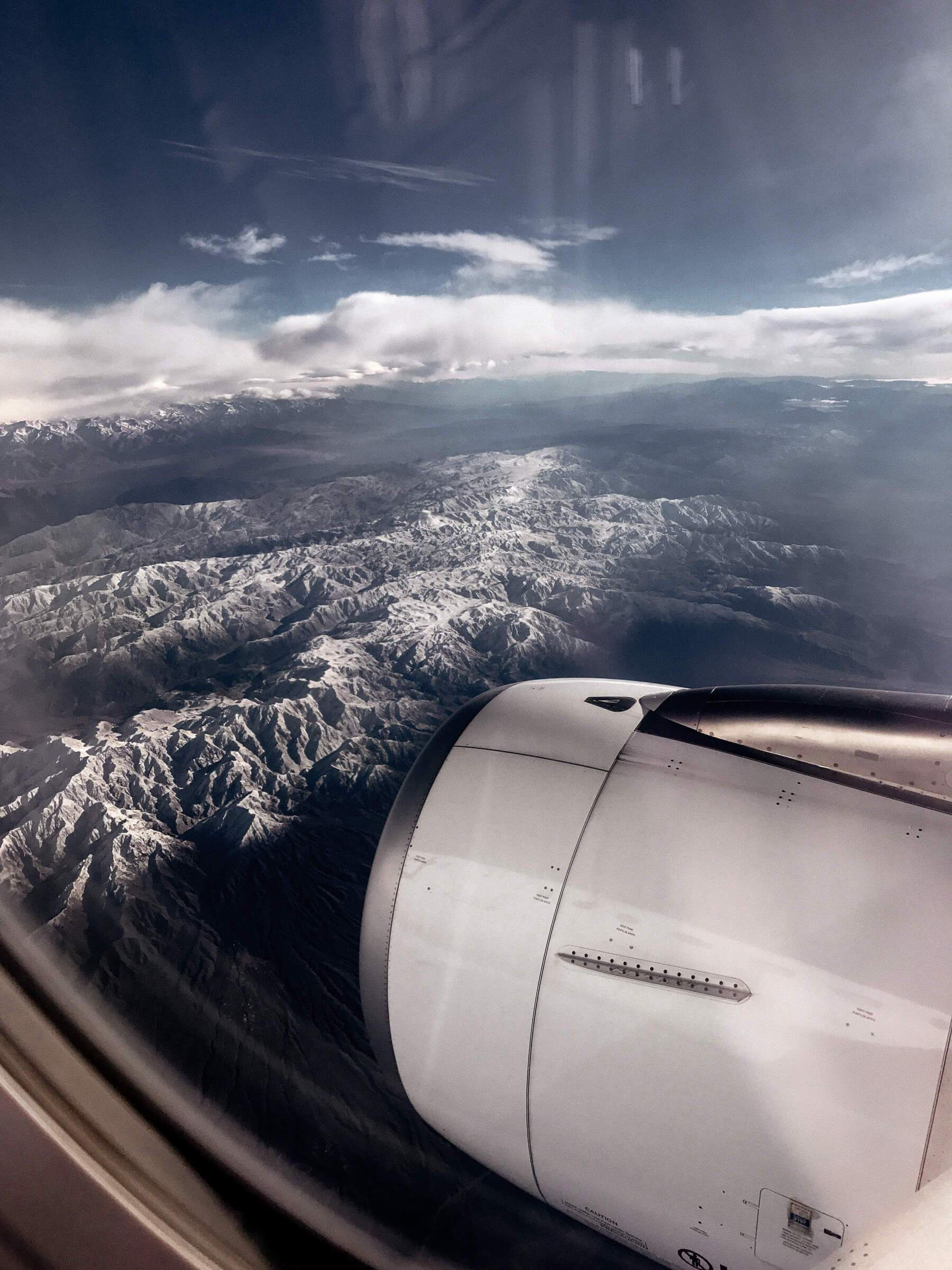 View from aeroplane flying over the Andes
