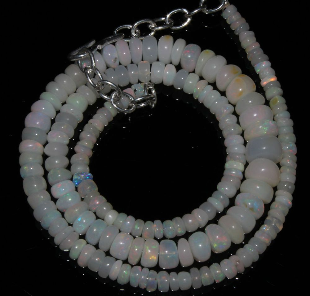 """60 Crts 1 Strands 3 to 8 mm 16"""" Beads necklace Ethiopian Welo Opal AA+++50269"""